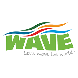 Logo of WAVE. Let's move the world!
