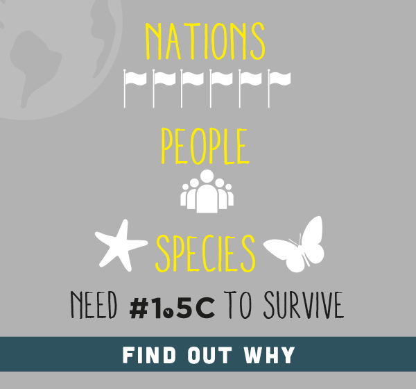 Infographic that says Nations, People, Species need 1o5c to survive.