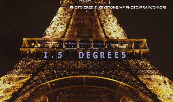 Image of Eiffel Tower. Help us in taking action in limiting global warming, targeting 1.5 degrees