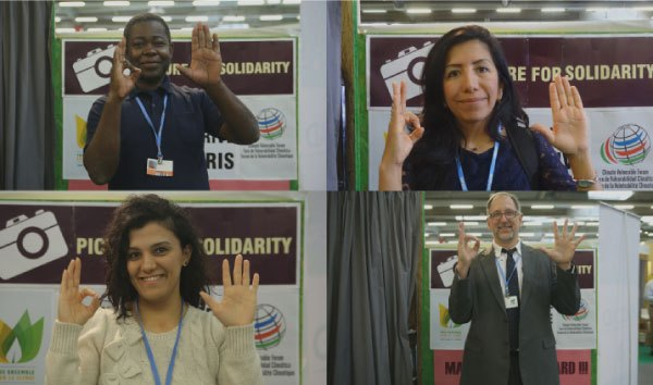 Image of people showing their support in our 1o5c campaign. Send us or upload your photo to show your support in our campaign preventing global warming.