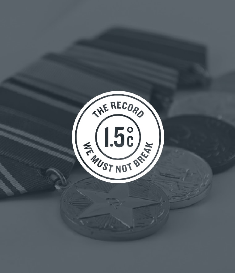 Image of medals for the record 1.5 degree celsius, we must not break.